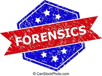 Hexagon FORENSICS stamp. Flat vector red and blue bicolor textured rubber stamp with FORENSICS title inside hexagon shape, ribbon is used. Rubber imitation with unclean texture, on a white background.