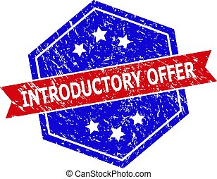 Hexagon INTRODUCTORY OFFER seal stamp. Flat vector blue and red bicolor grunge watermark with INTRODUCTORY OFFER slogan inside hexagoanl form, ribbon is used. Rubber imitation with grunge texture,
