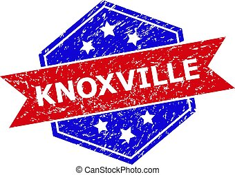 Hexagon KNOXVILLE seal stamp. Flat vector blue and red bicolor scratched seal with KNOXVILLE message inside hexagon shape, ribbon used. Rubber imitation with scratched texture, on a white background.