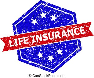 Hexagon Bicolor LIFE INSURANCE Rubber Stamp with Rubber Surface