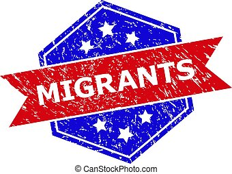 Hexagonal MIGRANTS watermark. Flat vector blue and red bicolor grunge watermark with MIGRANTS caption inside hexagoanl shape, ribbon is used. Watermark with corroded surface, on a white background.