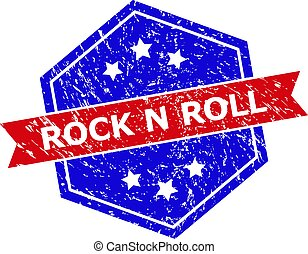 Hexagon Bicolor ROCK N ROLL Rubber Stamp with Rubber Texture