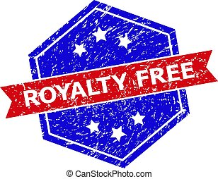 Hexagon ROYALTY FREE seal stamp. Flat vector red and blue bicolor textured seal stamp with ROYALTY FREE text inside hexagon form, ribbon used also. Imprint with scratched texture,
