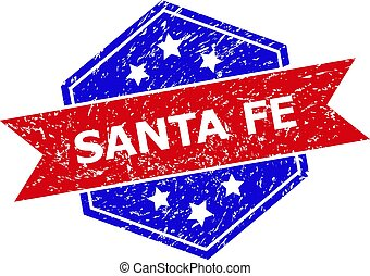 Hexagon Bicolor SANTA FE Rubber Stamp with Distress Style