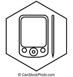 hexagon., blanc, arrière-plan., noir, aide, pda, ligne, contour, edged, contour, note, lignes, smartphone., informatique, numérique, personnel