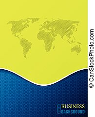 Hexagon business brochure with world map