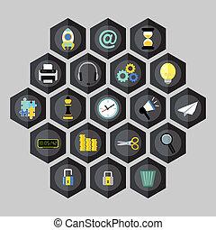 Hexagon business icons