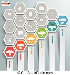 Hexagon Chart Growth Bars Honeycomb