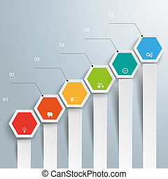 Hexagon Chart Growth Bars - Infographic with hexagons on the...