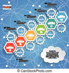 Hexagon Chart Growth Gears Cloud Blue Sky - Infographic with...
