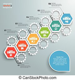 Hexagon Chart Growth Gears - Infographic with hexagons and...