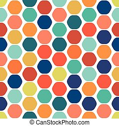 Hexagon colorful seamless geometric pattern.