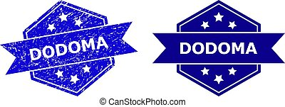 Hexagon DODOMA seal stamp on a white background, with original version. Flat vector blue scratched seal stamp with DODOMA caption inside hexagoanl shape, ribbon used also.