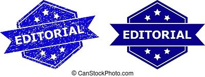 Hexagon EDITORIAL stamp seal on a white background, with undamaged variant. Flat vector blue scratched seal stamp with EDITORIAL caption inside hexagon form, ribbon used also.