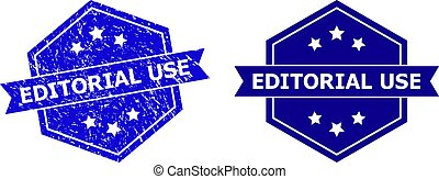 Hexagonal EDITORIAL USE stamp on a white background, with source version. Flat vector blue scratched watermark with EDITORIAL USE text inside hexagon shape, ribbon used.