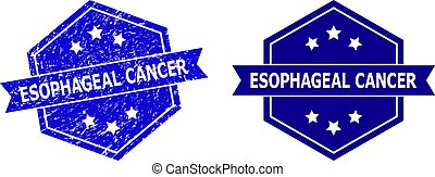 Hexagon ESOPHAGEAL CANCER stamp seal on a white background, with undamaged variant. Flat vector blue distress seal stamp with ESOPHAGEAL CANCER title inside hexagon form, ribbon is used.