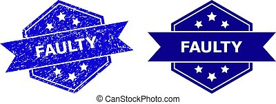 Hexagon FAULTY watermark on a white background, with undamaged version. Flat vector blue distress stamp with FAULTY message inside hexagoanl shape, ribbon used also. Watermark with distress style.
