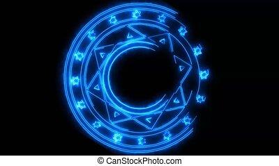 hexagon fire power overwhelming around powerful magic blue