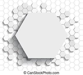 Hexagon flat background - White flat style hexagon icon on...