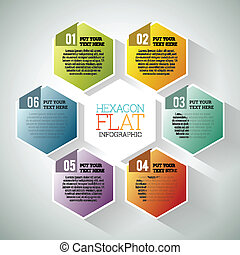 Hexagon Flat Infographic - Vector illustration of hexagon...