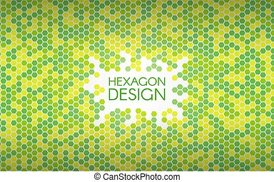 Hexagon green background. Colorful mosaic shapes. Geometric creative concept. Color abstract backdrop. Vector illustration