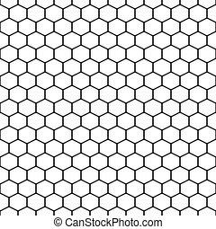 Hexagon grid cells vector seamless pattern.