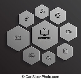 hexagon group with icons