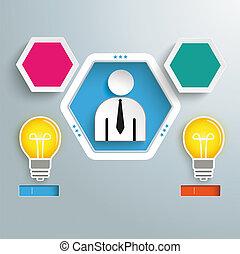Hexagon Hole Infographic 3 Options 2 Bulbs Businessman