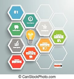 Hexagon Honeycomb Infographic Bulb - Infographic with...