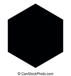 Hexagon icon black color illustration flat style simple image
