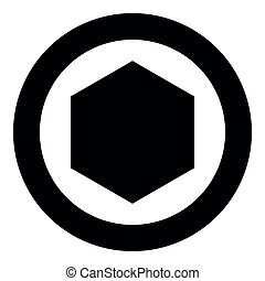 Hexagon icon black color vector illustration simple image