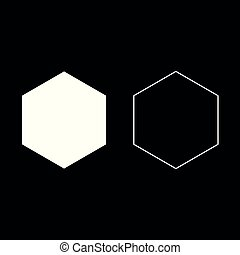 Hexagon icon set white color illustration flat style simple image