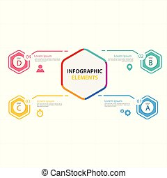 Hexagon Infographic Elements With Four Options Vector Image