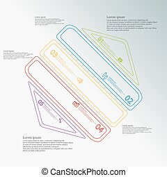 Hexagon infographic template created by five color double contour elements