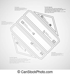 Hexagon infographic template created by five grey double contour elements