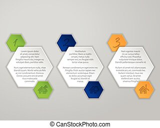 Hexagon infographic with icons and description