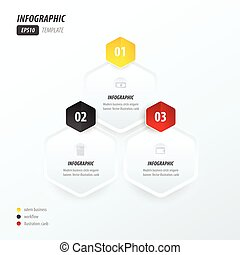 Hexagon infographic   yellow, black, red