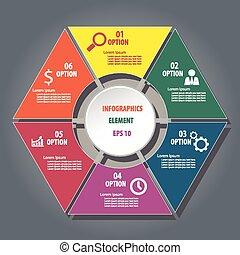 Hexagon infographics design element