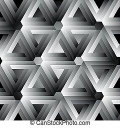 Hexagon kaleidoscope optical illusion forming penrose triangles