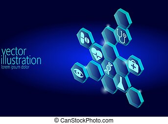 Hexagon medical flat icon set. Ambulance innovation medicine center poster business design element. Isometric 3D abstract composition blue glowing vector illustration