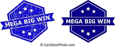 Hexagon MEGA BIG WIN stamp seal on a white background, with original version. Flat vector blue scratched seal with MEGA BIG WIN text inside hexagon shape, ribbon is used.