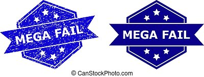 Hexagon MEGA FAIL stamp seal on a white background, with source variant. Flat vector blue scratched seal stamp with MEGA FAIL phrase inside hexagon form, ribbon is used. Imprint with unclean style.