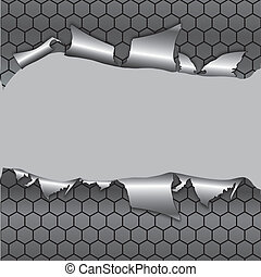 Hexagon metallic background, hole in the metal paper. Vector illustration