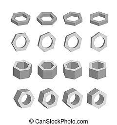 Hexagon. Monochrome set of geometric prism shapes, platonic ...