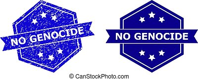 Hexagon NO GENOCIDE seal stamp on a white background, with source variant. Flat vector blue scratched seal stamp with NO GENOCIDE message inside hexagoanl form, ribbon used.