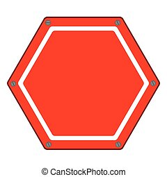 hexagon of road sign red icon flat