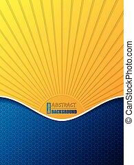 Hexagon pattern business brochure with bursting sun silhouette
