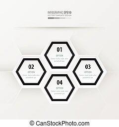 Hexagon presentation black and white color