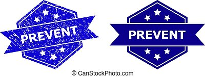 Hexagon PREVENT watermark on a white background, with undamaged version. Flat vector blue grunge seal stamp with PREVENT caption inside hexagon form, ribbon is used also.