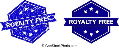 Hexagon ROYALTY FREE stamp seal on a white background, with undamaged variant. Flat vector blue distress stamp with ROYALTY FREE title inside hexagon shape, ribbon used also.